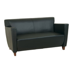 Office Star - Black Leather Love Seat with Cherry Finish - Provide upscale seating for waiting guests when you add this black leather love seat to your office or the office lobby.  The angular shape is modern and the cushioning makes it comfortable.  Short legs have a cherry finish. * Black Leather. Cherry Finish. 58 in. W x 33.5 in. D x 30.75 in. H