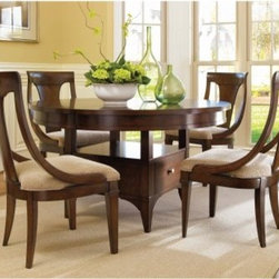 Hooker Furniture Abbott Place 5 Piece Round Adjustable Height Dining Set with Sl - Elegant and perfectly poised, the Abbott Place 5 pc. Round Adjustable Height Dining Set with Sling Chairs makes your dining room the stylish centerpiece of your home. The luxuriously warm cherry finish and hardwood and veneer construction mean this table will stick around for the long haul. Upholstered chairs provide comfortable seating, and the good looks are something you can't deny. Intriguing design, durable beauty, and endless charm will make this your favorite place to gather.Not available for sale in, or delivery to, the state of California.About Hooker Furniture CorporationFor 83 years, Hooker Furniture Corporation has produced high-quality, innovative home furnishings that seamlessly combine function and elegance. Today, Hooker is one of the nation's premier manufacturers and importers of furniture and seeks to enrich the lives of customers with beautiful, trouble-free home furnishings. The Martinsville, Virginia, based company specializes in lifestyle driven furnishings like entertainment centers, home office furniture, accent tables, and chairs. Construction of Hooker FurnitureHooker Furniture chooses solid woods and select wood veneers over wood frames to construct their high-quality pieces. By using wood veneer, pieces can be given a decorative look that can't be achieved with the use of solid wood alone. The veneers add beautiful accents of color and design to the pieces, and are placed over engineered wood product for strength. All Hooker wood veneers are made from renewable resources and are located primarily on the flat surfaces of the furniture, such as the case tops and sides. Each Hooker furniture piece is finished using up to 30 different steps, including 13 steps of hand-sanding and accenting. Physical distressing is done by hand. Pieces receive two to three coats of solid lacquer to create extra depth and add durability to the finish. Each case frame is assembled using strong mortise-and-tenon joints, which are then reinforced by mechanical fasteners and glue. On most designs, end panels extend to the floor to add strength and stability. Panel-style furniture features strong panel and frame construction to help avoid warping. Your Hooker furniture features finished case interiors to eliminate unsightly raw wood and to help protect items you may store inside drawers or cabinets. Drawer parts are given a urethane or lacquer finish to create smooth action and durability. All drawers use dovetails, either English or French, for years of problem-free use. Drawer bottoms are constructed from plywood and attached to the plywood drawer sides via the use of hot glue and/or wood glue blocks. Most drawers are full width, depth, and height to provide the maximum amount of storage space.