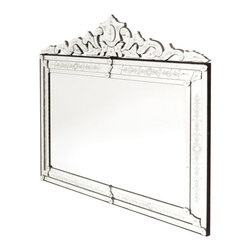 Extra Large Horizontal Venetian Mirror - The exquisite quality Extra Large Horizontal Venetian Mirror makes a perfect piece to be displayed above the fire mantle. It comes from our selected European Country Collection. Horizontally-shaped, it features a well-cut flowery borderline that adorns the top of the mirror.