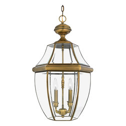 Quoizel - Quoizel NY1180A Newbury 4 Light Outdoor Pendants/Chandeliers in Antique Brass - Long Description: When it comes to curb appeal, outdoor lighting plays a large part in creating a special ambiance. The classic design and beveled glass of the Newbury gives the outside of your home a rich elegance, without making it look over-embellished. It�s a versatile look that coordinates with most any architectural style.