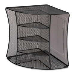 Lorell - Lorell Mesh Corner Desktop Organizer - 2 Pocket(s) - Steel - Black - Steel mesh Corner Organizer provides four shelves to organize your small items, with files in reach in two side pockets. As a corner organizer in a vertical position, it fits perfectly in a 90-degree corner. Or it can be used in a horizontal position as a radius organizer. Recyclable organizer includes black powder coat finish.