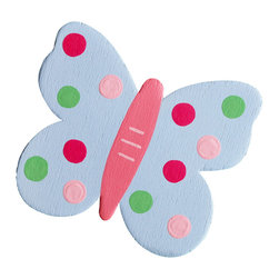 """Little Elephant Company - Sophie Butterfly Quilt Clips set of 3 - Beautiful quilt clips that transform your treasured baby quilts and comforters into charming hanging artwork for your child's room.    Very easy to use.  ***    This listing is for a set of three (3) beautifully detailed hand painted butterfly quilt clips.    The first butterfly is Valentine pink with fuschia pink and white flowers and a meadow green body with light pink dashes.    The second butterfly is pale blue with dots sprinkled in fuschia pink, light pink, and meadow green, and then a Valentine pink body with pale pink dashes.    And the third butterfly is Carolina blue and white with cobalt blue stitches and a Valentine pink body with pale pink dashes.    One butterfly will fly to the right, one to the left, and one straight up.    These quilt clips are perfect for butterfly and garden themed bedding sets.    Each butterfly measures 3 in. x 3.5 in.    How many quilt clips do I need?  - For a quilt that is still stiff and new, you will only need 2 quilt clips for up to 36 inches wide. Many people will do 3 quilt clips just for the look, though. For a quilt that has been washed and is pliable, 2 clips will be sufficient for up to 36 inches, but you may want 3 clips to help keep the center from sagging. For a quilt 36 to 42 inches wide, use 3 to 4 clips. For a quilt 42 to 50 inches, use 4 to 5 clips.    How do the quilt clips work?  - The only hardware is needed is a long nail, approximately 1 1/2"""" to 2 1/2"""" in length.  - Measure how far apart you would like the clips to be.  - Decide how high on the wall they will be placed and mark your first spot. Using a level, measure out and mark the second spot.  - Place your nails into the wall at a 45 degree angle. IMPORTANT: If your nail is not at a 45 degree angle, the clip may slip off the nail.  - Clip the quilt and slide the back of the clip over the nail.    What are the clips made of?  - Designs are made of layered wood. A few of our designs also """