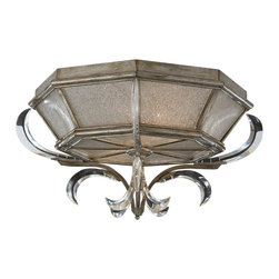 Fine Art Lamps - Beveled Arcs Flush Mount, 704240ST - This flush-mount fixture has an octagonal shape and antique silver finish. Seedy glass side and bottom panels shed some light on distinctive fleur-de-lis-like crystal arc accents.
