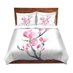 DiaNoche Designs - Duvet Cover Twill by Brazen Design Studio - Japanese Magnolia - Lightweight and soft brushed twill Duvet Cover sizes Twin, Queen, King.  SHAMS NOT INCLUDED.  This duvet is designed to wash upon arrival for maximum softness.   Each duvet starts by looming the fabric and cutting to the size ordered.  The Image is printed and your Duvet Cover is meticulously sewn together with ties in each corner and a concealed zip closure.  All in the USA!!  Poly top with a Cotton Poly underside.  Dye Sublimation printing permanently adheres the ink to the material for long life and durability. Printed top, cream colored bottom, Machine Washable, Product may vary slightly from image.