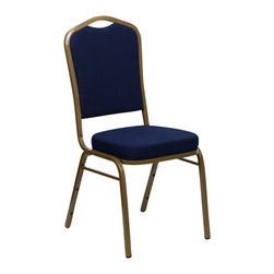 Flash Furniture - Flash Furniture Hercules Series Crown Back Stacking Banquet Chair - Gold Frame - This is one tough chair that will withstand the rigors of time. With a frame that will hold in excess of 500 lbs., the Hercules series banquet chair is one of the strongest banquet chairs on the market. You can make use of banquet chairs for many kinds of occasions. This banquet chair can be used in church, banquet halls, wedding ceremonies, training rooms, conference meetings, hotels, conventions, schools and any other gathering for practical seating arrangements. The banquet chair is also great for home usage from small to large gatherings. For any environment that you use a banquet chair it will put your guests at a greater comfort level with the padded seat and back. Another advantage is the stacking capability that allows you to move the chairs out of the way when not in use. With offerings of comfort and durability, you can be assured that you can enjoy this elegant stacking banquet chair for years to come. [FD-C01-ALLGOLD-2056-GG]
