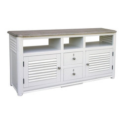 EuroLux Home - New Entertainment Center White/Cream Painted - Product Details