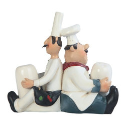GSC - 5 x W: 5.5 Inch Chefs Sitting Back To Back Salt and Pepper Shaker - This gorgeous 5 x W: 5.5 Inch Chefs Sitting Back To Back Salt and Pepper Shaker has the finest details and highest quality you will find anywhere! 5 x W: 5.5 Inch Chefs Sitting Back To Back Salt and Pepper Shaker is truly remarkable.