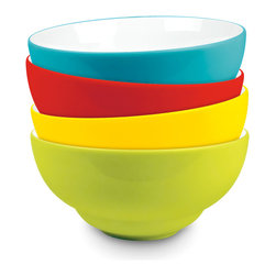 Waechtersbach - UNO Porcelain Soup/Cereal Bowls, Set of 4 Assorted Colors - These porcelain bowls come in set of four coordinating colors. Assorted set of red, lime, turquoise and yellow.