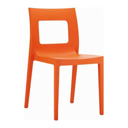Compamia ISP026-ORA Lucca Dining Chair - Orange - Set of 2 - If the Compamia ISP026-ORA Lucca Dining Chair - Orange - Set of 2 is too loud, then you're too old, man. But if you're still here, then not only is the appealing style of this cast-resin chair starting to get to you, you probably also want to hear about its UV-resistant body, injection-molded legs and how easily it cleans up after some time and attention, whether it be indoors or out. This chair is cast from a commercial-grade resin that's easy to clean and tough as nails. The strong legs have non-skid caps that won't mark your floors, and this chair is easily stackable when not in use.