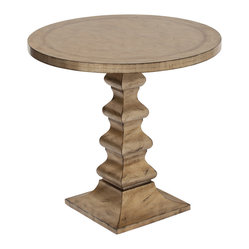 Ambella Home - Wright Accent Table - Looking more like a rustic pedestal than an accent table, this lovely wood table is finished in aged champagne to add depth and interest. It would be a great addition to your entryway or living space to add a rustic edge to a refined interior.