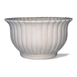 Amedeo Design, LLC - USA - Fluted Bowl Planter - Our Fluted Bowl Planter is truly unique and has tremendous versatility inside or out. It proudly displays a fluted pattern with a curved top to give this piece a flower-like appearance, a beautiful decoration for any location. With our large variety of colors and sizes you can alter this piece to any way you see fit. Being made from our resilient ResinStone, this piece will last far beyond your expectations. Made in USA.