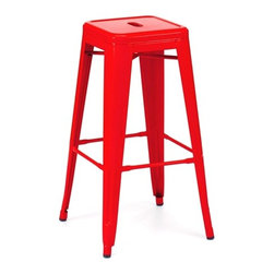 Design Lab MN - Amalfi Stackable Glossy Red Steel Barstool Set of 4 - Go bold with this vibrant, vintage Tolix bar stool. Perfect for any restaurant, cafe, bar or even home, this modern stool boasts a stunning, rich red finish, a sturdy rolled steel frame, and a vintage-inspired style that can't be ignored. It is also stackable, making for each storage and cleaning.