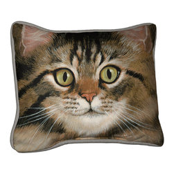 090-Tabby Cat Pillow - Everything you're looking for when it comes to a quality, decorative pillow.  Suited inside on your living room sofa or propped on an outdoor patio bench. Silkscreened on 100% cotton canvas, filled with polyfil, trimmed with coordinated gray cotton cording.