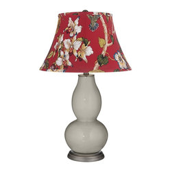 "Color Plus - Contemporary Requisite Gray Red Botanical Double Gourd Table Lamp - Exclusive Requisite Gray designer color. Red botanical print bell shade. Hand-crafted lamp. From the Color + Plus lighting collection. Maximum 150 watt or equivalent bulb (not included). 29 1/2"" high. Shade is 10"" across the top 17"" across the bottom 11"" on the slant.   Exclusive Requisite Gray designer color.  Red botanical print bell shade.  Hand-crafted lamp.  From the Color + Plus lighting collection.  Maximum 150 watt or equivalent bulb (not included).  29 1/2"" high.  Shade is 10"" across the top 17"" across the bottom 11"" on the slant."