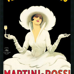 Amanti Art - Martini and Rossi Framed with Gel Coated Finish by Marcello Dudovich - Dudovich's natural talent combined with a constant exposure to the forefront of artistic advertising techniques allowed him to move up quickly from his position of designer to one of the most sought after Italian graphic artists.