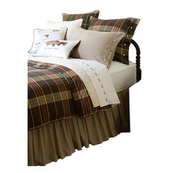 Taylor Linens - Deerfield King Duvet - Cabin fever? Cure it with this handsome plaid duvet. Classic lodge styling gets a chic update with corded piping and horn button closures for a look that evokes rustic mountain hideaways and cozy nights under the covers.