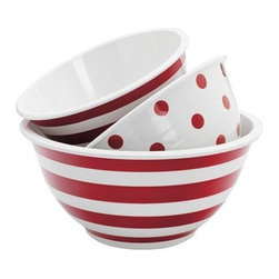 Anchor Hocking - 3-Piece Decorated Melamine Mixing Bowl - 92184 - Anchor Hocking 3 Piece Decorated Melamine Mixing Bowl Set (Sm. Striped Mix Bowl Md. Polka Dot Mix Bowl Lg. Striped Mix Bowl) Set includes: 2qt. 3qt and 4qt Mixing Bowls. Not suitable for hot contents. Please do not microwave.