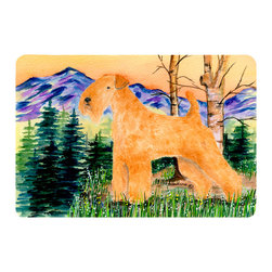 Caroline's Treasures - Lakeland Terrier Kitchen or Bath Mat 20 x 30 - Kitchen or Bath Comfort Floor Mat This mat is 20 inch by 30 inch. Comfort Mat / Carpet / Rug that is Made and Printed in the USA. A foam cushion is attached to the bottom of the mat for comfort when standing. The mat has been permanently dyed for moderate traffic. Durable and fade resistant. The back of the mat is rubber backed to keep the mat from slipping on a smooth floor. Use pressure and water from garden hose or power washer to clean the mat. Vacuuming only with the hard wood floor setting, as to not pull up the knap of the felt. Avoid soap or cleaner that produces suds when cleaning. It will be difficult to get the suds out of the mat.