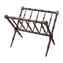 Used Bamboo Style Turned Wood Magazine Rack - A gorgeous wooden bamboo style magazine rack. There are some small spots of wear to the finish, but it is still such a striking piece!
