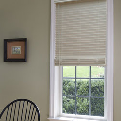 "Window Treatments for Bathrooms: 1"" Faux Wood Blinds - Faux Wood Blinds are our top pick for bathrooms. They have a classic look, and are safe for high moisture and temperature spaces. The solid PVC slats will never warp or crack like wood blinds can in some instances."