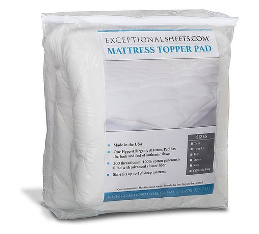Extra Plush Mattress Pad - Topper with Skirt, Queen - You'll love the luxurious comfort of this mattress pad! This pad is perfect for restoring older mattresses, softening firm mattresses or cooling hot mattresses.