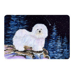 Caroline's Treasures - Starry Night Coton De Tulear Kitchen or Bath Mat 24 x 36 - Kitchen or Bath Comfort Floor Mat This mat is 24 inch by 36 inch. Comfort Mat / Carpet / Rug that is Made and Printed in the USA. A foam cushion is attached to the bottom of the mat for comfort when standing. The mat has been permanently dyed for moderate traffic. Durable and fade resistant. The back of the mat is rubber backed to keep the mat from slipping on a smooth floor. Use pressure and water from garden hose or power washer to clean the mat. Vacuuming only with the hard wood floor setting, as to not pull up the knap of the felt. Avoid soap or cleaner that produces suds when cleaning. It will be difficult to get the suds out of the mat.