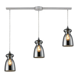 Elk Lighting - Elk Lighting 60063-3L Menlow Park Pendant Light with Polished Chrome - Industrial Inventions Of Yesteryear Are Reclaimed And Reinterpreted To Deliver The Style Demands Of Today. The Classic Filament Style Bulb Can Be Showcased Within A Clear Or Mercury Blown Glass Shade Or Proudly Shown Alone. An Oiled Bronze Finish With A Cloth Cord Or A Polished Chrome Finish With A Clear Cord Offer Versatility For Any Decor.