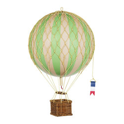 Authentic Models - Authentic Models AP168G Jules Verne Balloon - Green - Iconic and inspiring helium filled balloons were one of aviation's first successes. Since 1783, balloons have traveled the skies. Our largest model to date comes complete with a rattan basket hanging from hand-knotted netting and wood toggles. The large balloon carries sand bags at the ready for release as ballast.