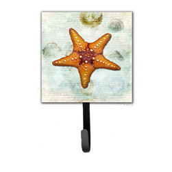 Caroline's Treasures - Starfish  Leash Or Key Holder - The Single Hook Leash Holder measures 4.25 inches wide by 7 inches high. The tile is made from a hardhoard and is mounted to a metal rectangle. The hook hangs down from the metal plate in the back and is about 2 1/2 inches from the base. The hook opens about 1 inch. A hanger is attached to the metal plate and is about 1 1/2 inches long. Lots of room to hang up using a screw or paneling nail. Great for the home or office to hold keys, leashes or just about anything.