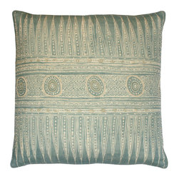 Aztec Border Beaded Pillow - Celadon - Impossibly intricate ivory designs with august tribal inspirations pattern the celadon turquoise field of the Aztec Border Beaded Pillow. Its dramatic points border concentric circular medallions; between the two, dotted bars border a rich, densely stippled pattern of curves. The cool, muted tones of this square toss pillow blend into eclectic global rooms or soft, summery palettes with ease, making it a prime addition to your transitional decor.