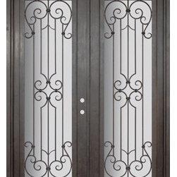 """Milano 72x96 Wrought Iron Double Door 14 Gauge Steel - """"SKU#PHBFMDR4BrandGlassCraftDoor TypeExteriorManufacturer CollectionBuffalo Forge Steel DoorsDoor ModelMilanoDoor MaterialSteelWoodgrainVeneerPrice8350Door Size Options  $Core Typeone-piece roll-formed 14 gauge steel doors are foam filled  Door StyleTraditionalDoor Lite StyleFull LiteDoor Panel StyleHome Style MatchingMediterranean , Victorian , Bay and Gable , Plantation , Cape Cod , Gulf Coast , ColonialDoor ConstructionPrehanging OptionsPrehungPrehung ConfigurationDouble DoorDoor Thickness (Inches)1.5Glass Thickness (Inches)Glass TypeDouble GlazedGlass CamingGlass FeaturesInsulated , TemperedGlass StyleGlass TextureClear , Glue Chip , RainGlass ObscurityDoor FeaturesDoor ApprovalsWind-load RatedDoor FinishesThree coat painting process"""