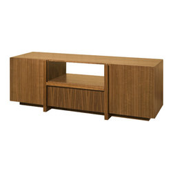 """Tucker Furniture - Max 64"""" TV Stand - Sophisticated modern design combines with high function in this super-cool TV credenza. One big drawer in the middle is mounted on full-extension drawer slides and can hold hundreds of CD's. Two doors on either side open to 18"""" Wide storage spaces that have two adjustable shelves for custom configuration of storage space: more components, photo albums, magazines, books. Frosted glass shelf fits into central open cubby to make room for two or more components; cable box, tuner, DVD player and remotes. Features: -Solid wood framing and decorative elements.-Made in the USA.-Solid hardwood plywood construction.-Durable catalyzed wood finish protects wood from water, wine, food, hand lotion, most household products.-Drawers are completely finished and smooth inside.-Max collection.-Recommended TV Type: Any TV.-TV Size Accommodated: 54"""".-Powder Coated Finish: No.-Gloss Finish: Yes.-Material: Solid wood, hardwood plywood, tempered tinted glass.-Number of Items Included: Fully assembled TV unit, 4 wood shleves, 1 glass shelf and shelf pins.-Solid Wood Construction: No.-Distressed: No.-Exterior Shelves: Yes -Number of Exterior Shelves: 1.-Adjustable Exterior Shelves: Yes..-Drawers: Yes -Number of Drawers: 1.-Drawer Interior Finish: Natural finish.-Drawer Glide Material: Steel.-Drawer Glide Extension: 0.75 extension glides.-Soft Close Drawer Glides: No.-Safety Stop: Yes.-Ball Bearing Glides: Yes.-Joinery Type: Pocket screws, glue and wood reinforcing blocks.-Drawer Dividers: No.-Drawer Handle Design: Finger pull..-Cabinets: Yes -Number of Cabinets: 2.-Number of Doors: 2.-Door Attachment Detail: European 95 degree hinges.-Interchangeable Panels: No.-Magnetic Door Catches: Yes.-Cabinet Handle Design: Finger pull.-Number of Interior Shelves: 2..-Scratch Resistant: Yes.-Ventilation Features: 2 Ventilation/wire access slots in the back of each side.-Removable Back Panel: No.-Hardware Finish: Satin Nickel.-Casters: No.-Accommodates Fireplace: No"""