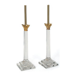 Go Home - Pair Of William & Kate Candlesticks - Splendid and elegant William & Kate Candlesticks for the finest dining table. Beautifully made from the glass & brass.They will look stunning in traditional or contemporary settings.