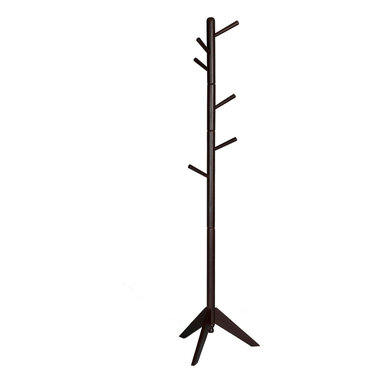 Adarn Inc. - Rich Espresso Swival Coat Hat Rack Hooks in Every Direction Solid Wood Hall Tree - Your organized home starts at the door and this collection of coat racks offers you your choice of stylish storage solutions. Give guests a warm welcome when you place a coat rack in your hall or entryway, or make the most of a compact space by tucking one into a corner of your living room. Features hooks in every direction keep everyday items like coats, hats and jackets neatly in place.