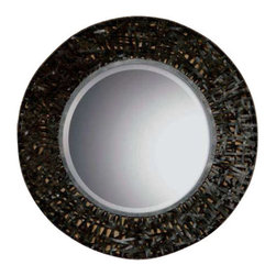 "Uttermost Alita Woven Metal Mirror - Black woven metal with rust brown highlights. Mirror features a metal frame with black woven metal details. Mirror has a generous 1 1/4"" bevel."