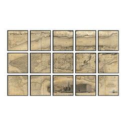 "Christopher David - New York Artifact Map, 15-Panel Mural - Material: Wood or metal, glass Finish: Matte black wood or industrial grey metal Dimensions: 105""W X 63""H (approximate size of entire mural, without frame spacing)"