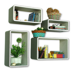 Blancho Bedding - [Melody Music]Rectangle Leather Wall Shelf / Bookshelf / Floating Shelf Set of 4 - These rounded corner wall cube shelves add a new and refreshing element to your room and can be easily combined with other pieces to create a customized wall space. Coming in various colors and sizes, they spice up your home's decor, add versatility, and create a whole new range of storage spaces. You can hang them on the wall, or have them stand on table or floor, any way you like. Fashion forward design has never been so functional. This range of faux leather storage cubes is sure to delight! Perfect for wall mounting, these modern display floating shelves are sure to delight. Constructed from MDF with a top faux leather wrapping. Easy to mount, easy to love! Attractive shelf boxes give any wall in your home a striking appearance. Arrange in whatever fashion you like - whether it be grouped together or displayed separately. Each box serves as a practical shelf, as well as a great wall decoration.