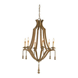 Kathy Kuo Home - French Country Washed Bent Wood 6 Light Chandelier - A simple handsome shape embellished with just the right amount of decorative trim and the result is an elegant yet rustic design.