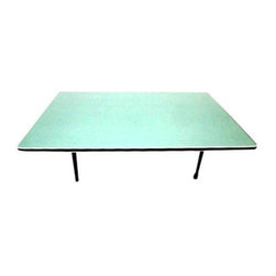 Pre-owned Vintage Mid-Century Modern Low Folding Table Japan - This retro atomic 1950s-1960s low folding table is a great example of Japanese Mid-Century Modern design. It features a formica laminate top and it folds flat, making it easy to transport. It is structurally very sturdy and a great functional item.    There are minor nicks and marks consistent with age and light residential use. This table is the cleanest example we have ever seen and presents very well.