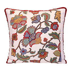 Floral Print Pillow - Hark back to a stylish era when gracious florals were a must. This custom-crafted pillow starts with vintage fabric, and adds a linen back, over-locked seams and button closure — all over a comfy down and feather blend insert. The perfect accent piece for your most genteel setting.