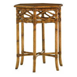 Lexington - Tommy Bahama Home Beach House Coral Springs Accent Table - Diamond inspired leather wrapped rattan and cross stretchers create an interesting end table that boasts six sides.