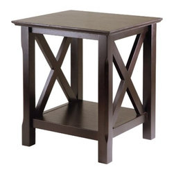 Winsome Wood - Xola End Table - Our Xola line is named for the contemporary X design for occasional tables. This End Table has 2 storage drawers with brushed pewter finish pulls. It is made up of Solid and composite wood sturdy constructions and is finished in antique walnut finish.
