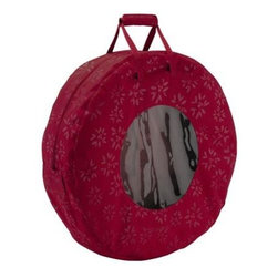 """Classic Accessories - Seasons Wreath Storage Bag Large - Seasons Collection by Classic Accessories - this wreath bag stores and protects artificial wreaths. An interior adjustable strap secures a variety of wreath sizes. It features an easy-view window lid with dual zippers for easy access convenient top carrying handles with comfort pad zipper closure and clear ID sleeve. Made of holiday patterned high-quality polyester in a rich cranberry color. Fits artificial wreaths up to 35"""" diameter 9.5"""" H."""