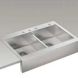 """KOHLER - KOHLER K-3944-4-NA Vault Top-Mount Single Bas Sink with Shortened Apron-Front - KOHLER K-3944-4-NA Vault top-mount double basin stainless steel sink with shortened apron-front for 36""""cabinet in Not Applicable"""