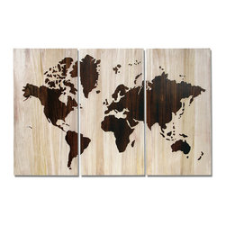 Palecek - World Map Wall Decor, Set of 3 - Natural wood tone background with brown tone hand-carved map.