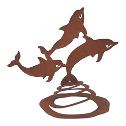 Dolphins Spring Garden Sculpture - The frolicking dolphins on a spring wavy on the spring in the breeze. This sculpture is hand made in the USA from heavy rusted steel. It is designed by California artist Susan Regert.