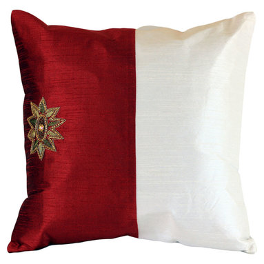 Banarsi Designs - Modern Two Tone Pillow Cover, Set of 2 (Red) - Simple yet striking, this fashionable pillow cover is up to date with today's trends. Featuring a delicately hand-embroidered star style design on one side and soft-to-the-touch fabric, this pillow cover set is the perfect addition to your home. The hidden zipper in the back makes it easy to add these over your current throw pillows or swap them out with other pillow covers quickly, anytime you feel like changing around the look and feel of your surroundings. The beautiful contrast between bold colors and pure pristine white will instantly brighten your home, and make an excellent conversation piece. Made in India.