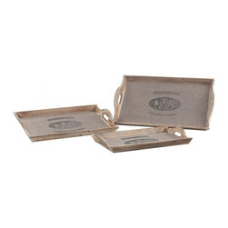"Joshua Marshal - Set Of 3 ""Les Tulips"" Linen Covered Trays - Set Of 3 ""Les Tulips"" Linen Covered Trays"