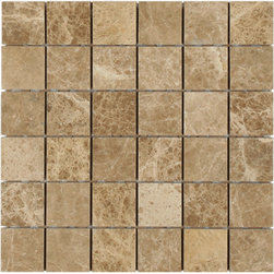 "Marbleville - MSI Emperador Light 2"" x 2"" Polished Marble Mosaic  in 12"" x 12"" Sheet - Premium Grade Emperador Light 2"" x 2"" Polished Mesh-Mounted Marble Mosaic is a splendid Tile to add to your decor. Its aesthetically pleasing look can add great value to the any ambience. This Mosaic Tile is constructed from durable, selected natural stone Marble material. The tile is manufactured to a high standard, each tile is hand selected to ensure quality. It is perfect for any interior/exterior projects such as kitchen backsplash, bathroom flooring, shower surround, countertop, dining room, entryway, corridor, balcony, spa, pool, fountain, etc."