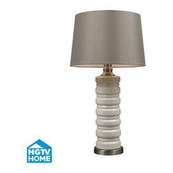 HGTV HOME - HGTV HOME HGTV131 Hgtv Home 1 Light Table Lamps in Ceram Crackle Ceramic With Br - Cream Crackle Ceramic Table Lamp With Brushed Steel Accents